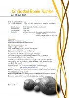 Einladung zum 13. Gockel Boule Turnier