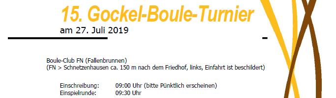 Einladung zum 15. Gockel Boule-Turnier